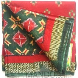 Tulasi Red Cotton Saree with Green Border