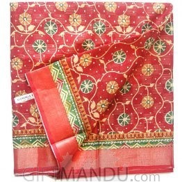 Tulasi Red Cotton Saree (Circles)