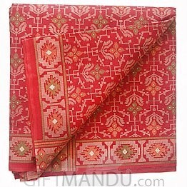 Red Cotton Saree With Flower Pattern Design By Tanvi