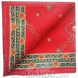 Red Cotton Saree With Multi Lines and Flowers in Border by Makhanbhog