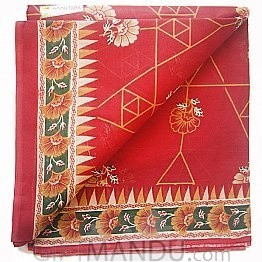 Red Cotton Saree With Triangular Lines and Flowers (Floral Design) By Roop Tara