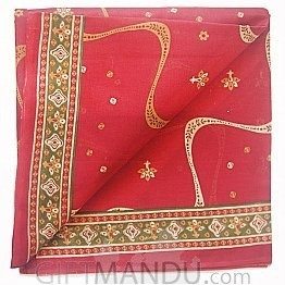 Red Cotton Saree With Floral Design in Achal By Roop Tara