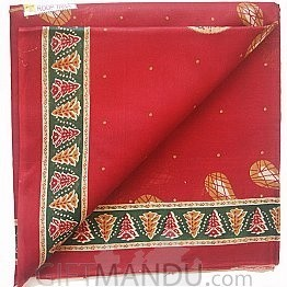 Red Cotton Saree With Floral Print Designed and Leafy Border By Roop Tara