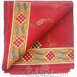 Red Cotton Saree With Floral Print Designed and Green Leafy With Orange Border By Roop Tara
