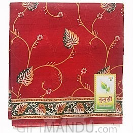 Red Cotton Saree With Leafy Floral Design By Roop Tara