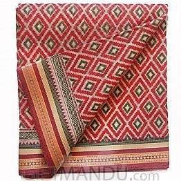 Red Cotton Saree With Golden Border By Indian Queen