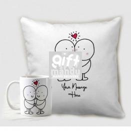 Couple In Love Custom Printed Cushion And Coffee Mug