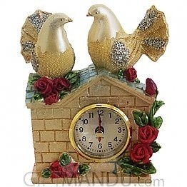 Antique Couple Pigeon Table Clock-6.4 Inch