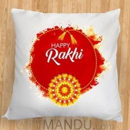 Happy Rakhi Printed Cushion