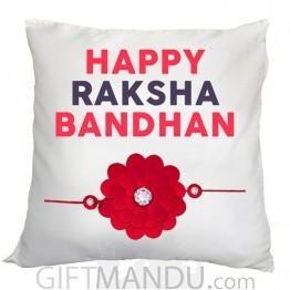Happy Raksha Bandhan Cushion (Red)