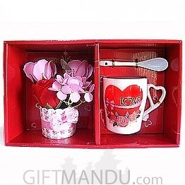 Valentine I Love You Mug with Flower set