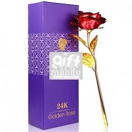 24K Red Gold Foil Rose in Box