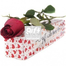 You're The One - Single Rose in Special Hearts Printed Box