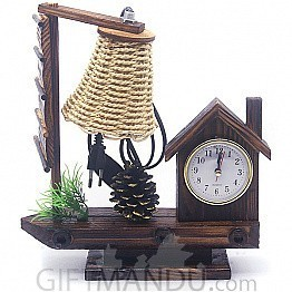 Decorative House Clock With Wooden Base Lamp