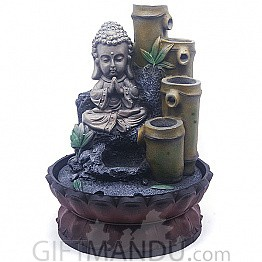 Sitting Buddha Bamboo Plant Design Water Fountain (11 Inches)