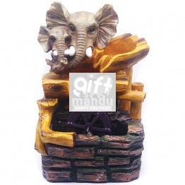 Two Elephants Head Lovely Watermill Fountain (15 Inches)