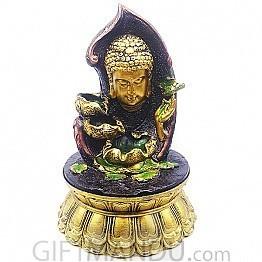 Buddha Face Beautiful Golden Water Fountain (15.5 Inches)