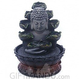 Buddha Holding Leaf Water Fountain With LED Light (10.5 Inches)