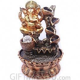 Golden Ganesh Ji Auspicious Water Fountain (13 inches)