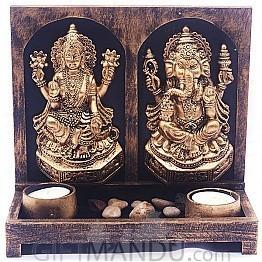 Laxmi Ji Ganesh Ji Idol God Plaque Tealight Candle Decor