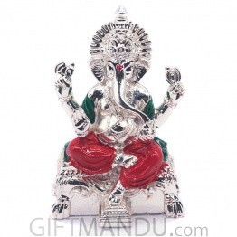 Silver Wax Idol of Lord Ganesh Ji Sitting on Simhasan