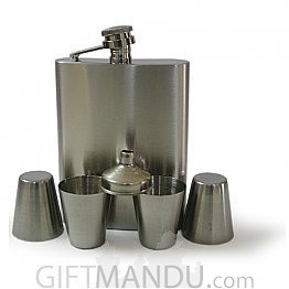 Silver 8 Oz Stainless Steel Drinks Hip Wine Flask Gift Set Box