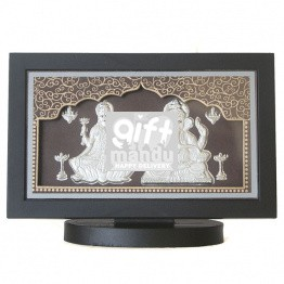 Silver Embossed Ganesh Ji, Laxmi Ji Beautiful Frame (Table Top)
