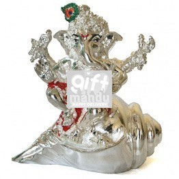 Silver Wax Idol of Lord Ganesh Ji Sitting on Sankha