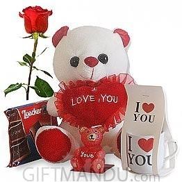 Love Teddy Bear, Love Mini Mug, Love Bear Candle, Loacker Chocolate, Free Rose