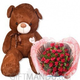 5' Giant Teddy Bear with Heart Roses Basket