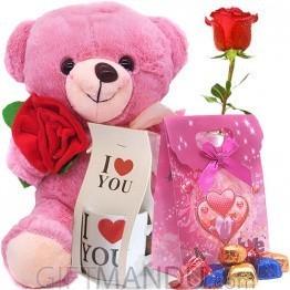 Surprise Her With Rose Teddy, Mini Love Mug, Chocolates & Free Ro