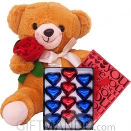 Rose Teddy With Hearts Chocolate Box