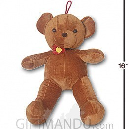 Brown Teddy Bear With Cute Flower Choker Necklace - 16 inch
