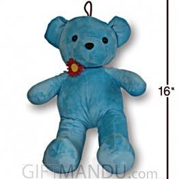 Blue Teddy Bear With Cute Flower Choker Necklace - 16 inch