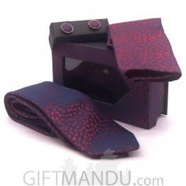 Standard Purple and Red Design Tie, Cufflinks and Scarf Gift Set
