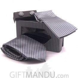 Standard Grey and White Design Tie, Cufflinks Pocket Square Set