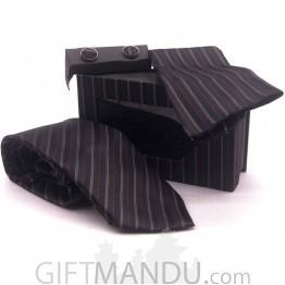 Standard Multi-color Design Tie, Cufflinks and Scarf Combo Set