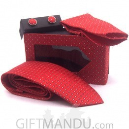 Stylish White Spotted Red Tie, Cufflinks Pocket Square Set