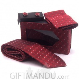 Stylish White Spotted Maroon Tie, Cufflinks Pocket Square Set