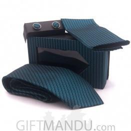 Standard Men Blue Tie, Cufflinks and Scarf Pocket Set