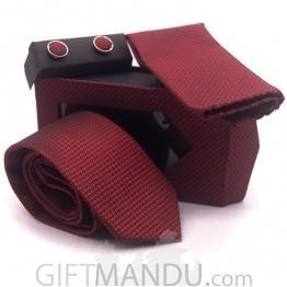 Standard Men Red Tie, Cufflinks and Scarf Pocket Set
