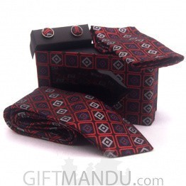 Standard Men Box Design Tie, Cufflinks Pocket Square Set