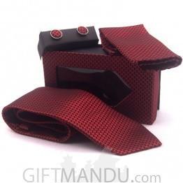 Standard Maroon Men Tie, Cufflinks Pocket Square Set