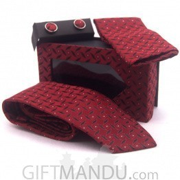 Formal Maroon Men Tie, Cufflinks and Scarf Gift Set