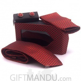 Standard Red Men Tie, Cufflinks and Scarf Gift Set