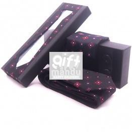 Classic Skinny Floral Design Men Black Tie Pocket Square Set
