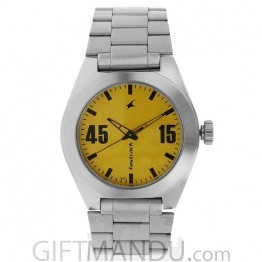 Fastrack Yellow Dial Analog Watch for Men - 3110SM04
