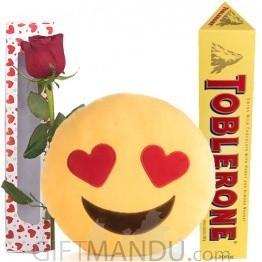 In Love Mini Emoji Cushion with Toblerone & Rose