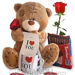 Rose Carrying Love Teddy, Loacker Chocolate, Love Mug Souvenir and Free Rose