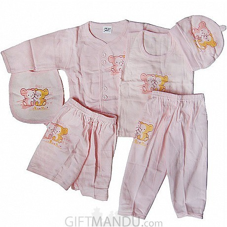 Baby Clothes Set For New Born Baby 6 Items Pink Send Gifts To